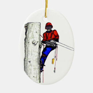 Tree Surgeon Arborist at work present Chainsaw Christmas Ornament