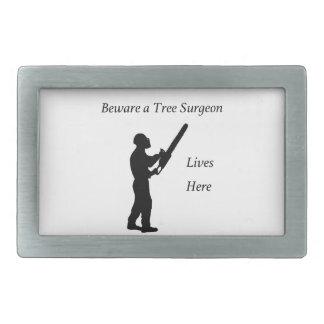 Tree Surgeon Arborist at work present Chainsaw Rectangular Belt Buckle