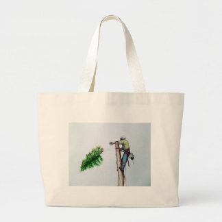 Tree Surgeon Arborist at work present Large Tote Bag