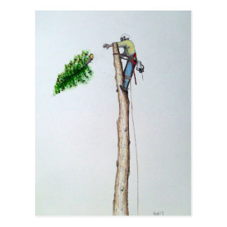 Tree Surgeon Arborist at work present Postcard