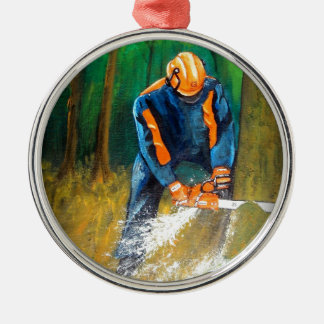 Tree Surgeon Arborist Forester Silver-Colored Round Decoration