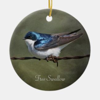 Tree Swallow Round Christmas Ornament