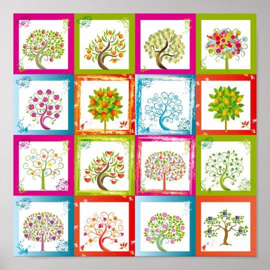 Tree tiles 4x4 poster