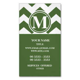 Tree Top Chevron Monogrammed Magnetic Business Cards