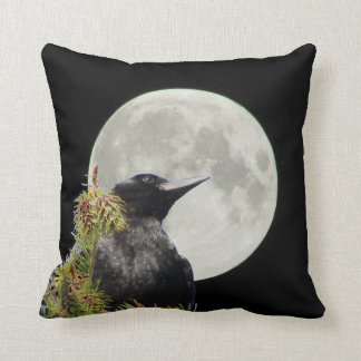 Tree Top Crow Silhouette and Full Moon Cushion