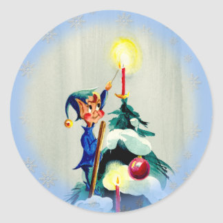 TREE TOP ELF by SHARON SHARPE Classic Round Sticker