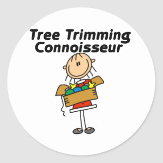 Tree Trimming Conoisseur Round Stickers
