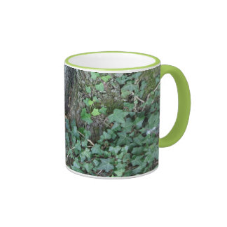Tree trunk and ivy in forest ringer mug