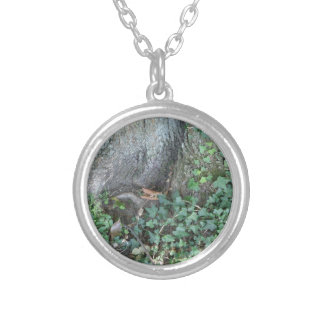 Tree trunk and ivy in forest round pendant necklace