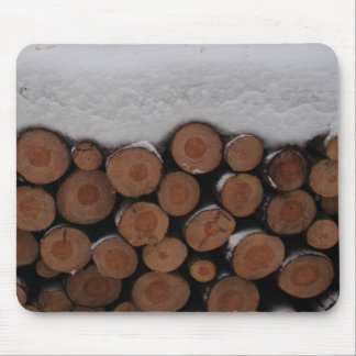 Tree Trunks Cross Sections With Snow Photo Mouse Pad