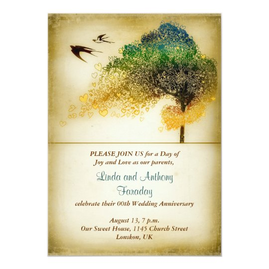 tree vintage art wedding anniversary invitation