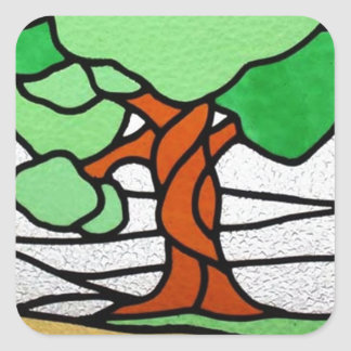 Tree | Vintage Stained Glass Circa 1920 Square Sticker