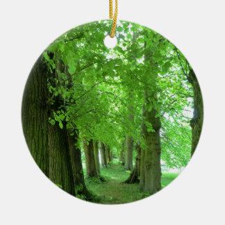 Tree Walk at Erddig Hall in Wales Round Ceramic Decoration
