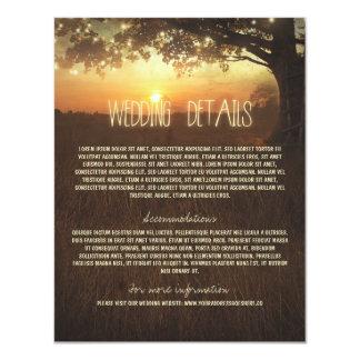 Tree Wedding Information Card with String Lights 11 Cm X 14 Cm Invitation Card