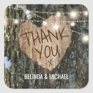 Tree Wedding Thank You | Rustic String Lights Square Sticker