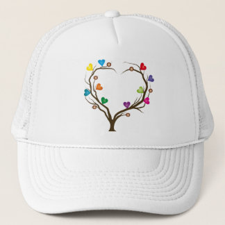 tree with bright hearts trucker hat