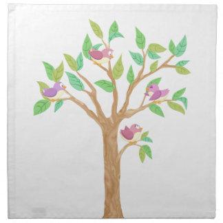 Tree with cute birds cloth napkin