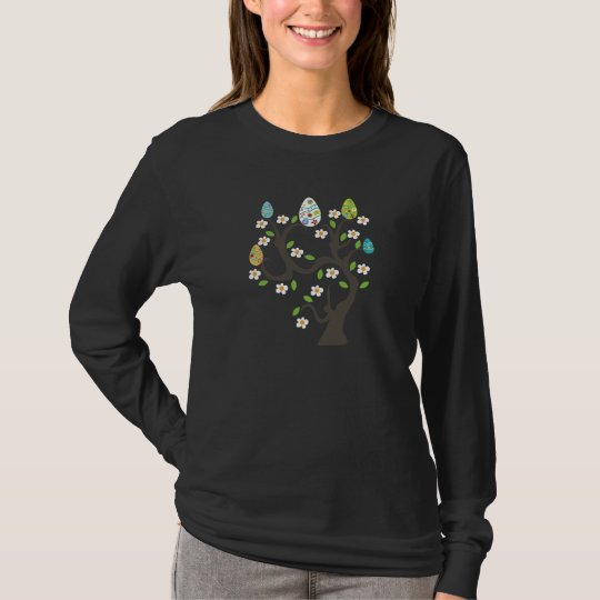Tree with Easter eggs and flowers custom t-shirt