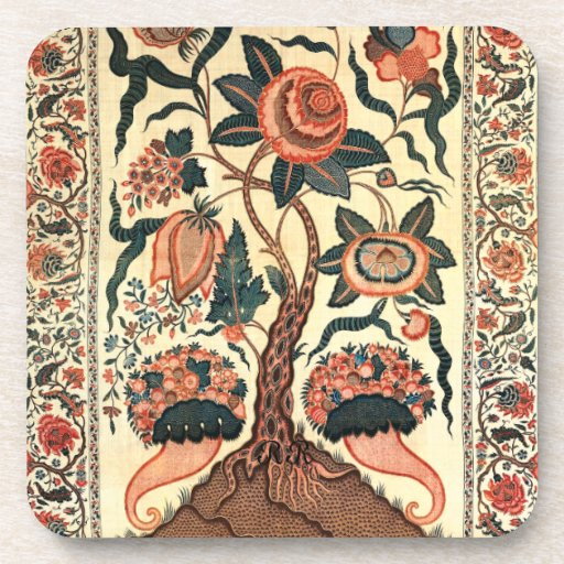 Tree with Flowers and Horns of Plenty, India 1750 Coaster