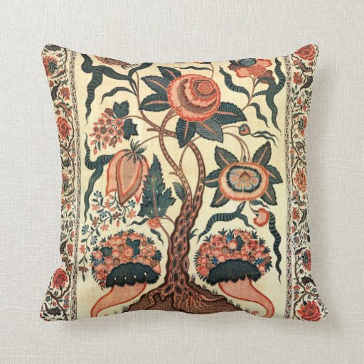 Tree with Flowers and Horns of Plenty, India 1750 Throw Pillow
