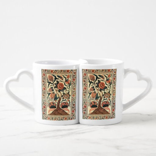 Tree with Flowers and Horns of Plenty, India 1750 Lovers Mug Set