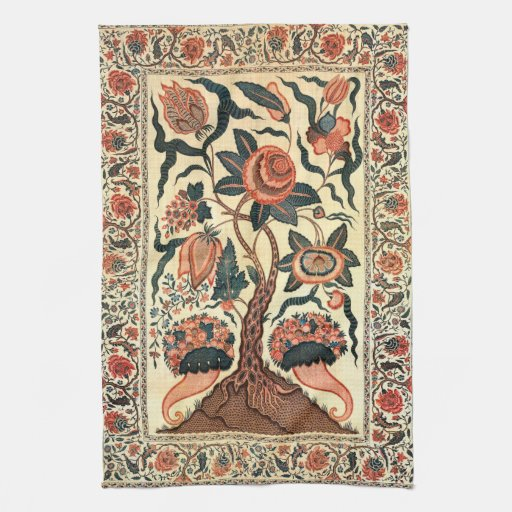 Tree with Flowers and Horns of Plenty, India 1750 Towels