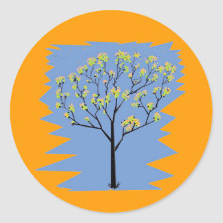 Tree with flowers classic round sticker