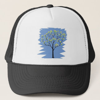 Tree with flowers trucker hat