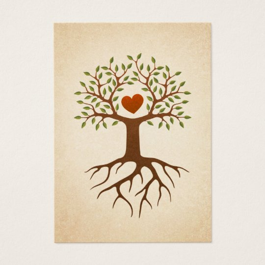 Tree with heart and roots business card