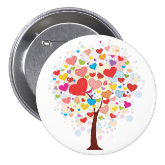 Tree With Heart Shaped Leaves Button