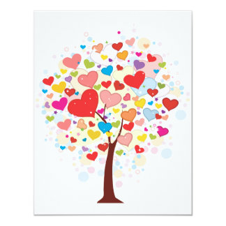 Tree With Heart Shaped Leaves Invitations