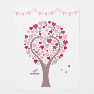 tree with hearts baby blanket