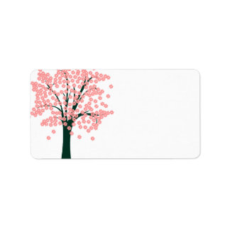 Tree with Pink Flowers Label Address Label