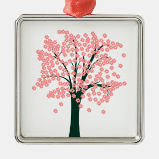 Tree with Pink Flowers Silver-Colored Square Decoration