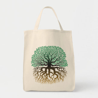 Tree with roots grocery tote grocery tote bag
