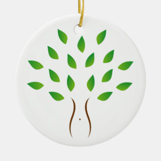 Tree with slim figure showing weight loss round ceramic decoration