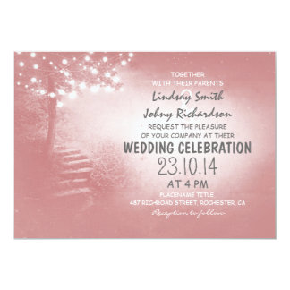 tree with string lights coral pink rustic wedding card