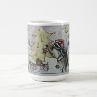treee decorating raccoon coffee mug