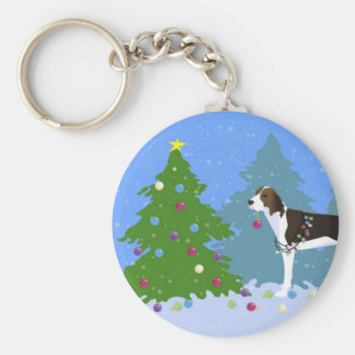 Treeing Walker Coonhound Decorating Christmas Tree Basic Round Button Key Ring