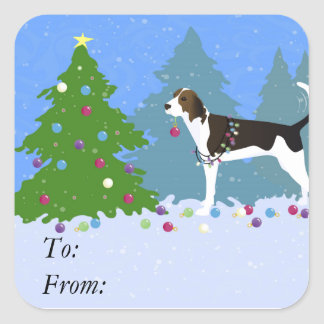 Treeing Walker Coonhound Decorating Christmas Tree Square Sticker