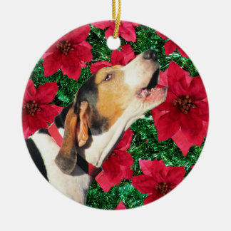 Treeing Walker Coonhound Poinsettias Round Ceramic Decoration