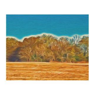 Treeline In Fall Wood Wall Art