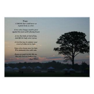 Trees, A poem by Joyce Kilmer Poster