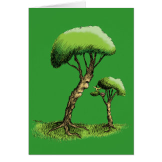 Trees and a Bird Greeting Card