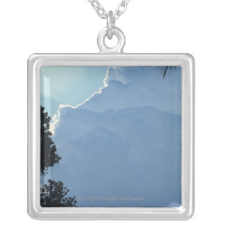 Trees and clouds silver plated necklace