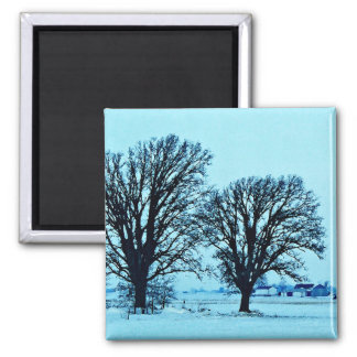Trees and Farm in the Twilight with Snow Fridge Magnet