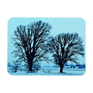 Trees and Farm in the Twilight with Snow Magnets