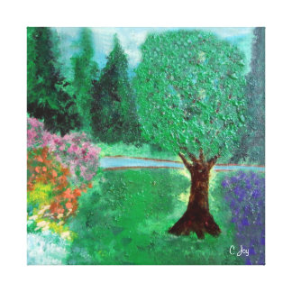 Trees and Flower Gardens by a Brook: Canvas Prints