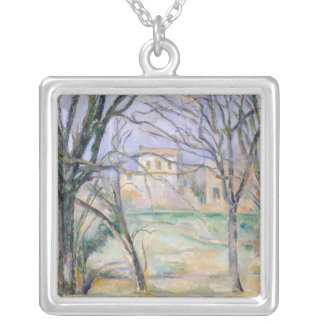 Trees and houses, 1885-86 silver plated necklace