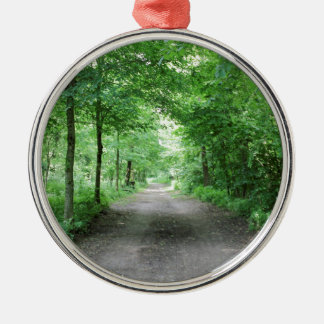 trees and street  in the forest Silver-Colored round decoration